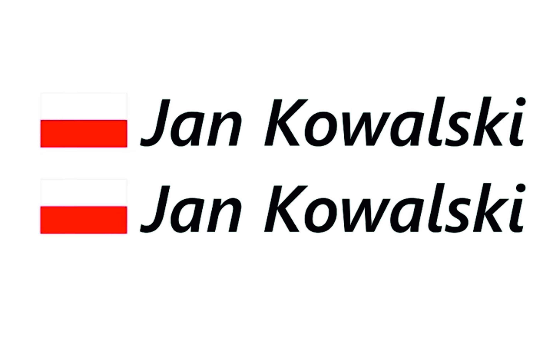 Bardzo dobra Naklejka na rower Imię Nazwisko Flaga Polski - enaklejkowo IY98